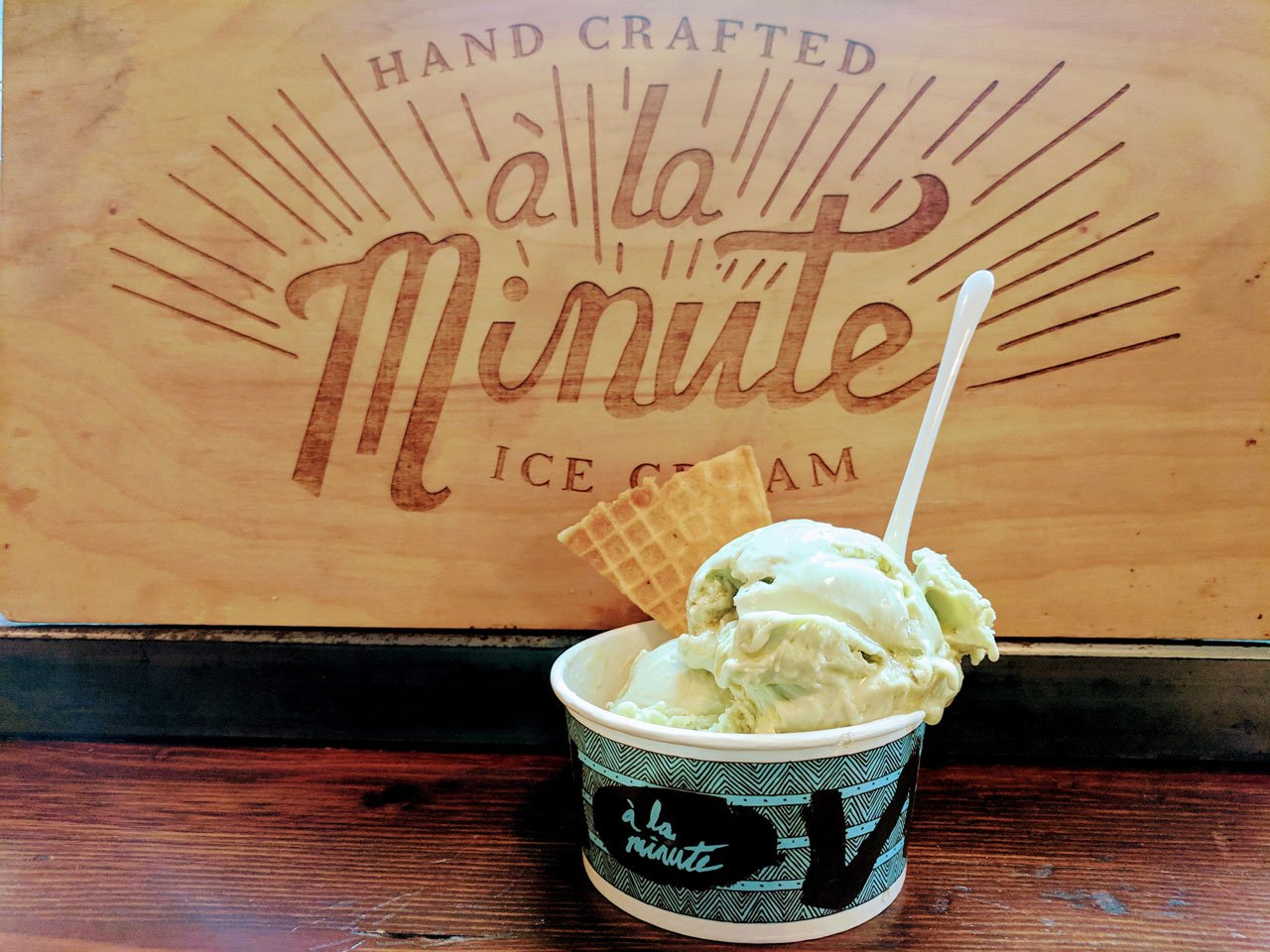 Avocado Ice Cream at a la Minute in Orange, Ca